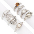 Estate Jewelry:Rings, Art Deco Diamond, Citrine, Colorless Stone, Platinum Rings. ...(Total: 7 Items)