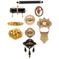 Estate Jewelry:Lots, Victorian Diamond, Multi-Stone, Enamel, Gold, White and Yellow Metal Brooches. ... (Total: 9 Items)