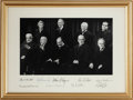 Autographs:Statesmen, Rehnquist Supreme Court Candid Photograph Signed by All Nine Justices....