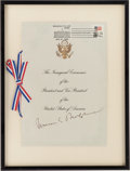 Autographs:Statesmen, Chief Justice Warren E. Burger Signed 1985 Inauguration Program....