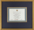 Autographs:Statesmen, Associate Justice David H. Souter Signed Invitation...