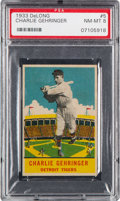 Baseball Cards:Singles (1930-1939), 1933 Delong Charlie Gehringer #5 PSA NM-MT 8 - Pop Six with NoneHigher. ...