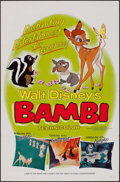 "Movie Posters:Animation, Bambi (Buena Vista, R-1966). One Sheet (27"" X 41"") Style B. Animation.. ..."