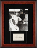 Baseball Collectibles:Others, 1950's Rogers Hornsby Signed Index Card Display. ...
