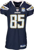 Football Collectibles:Uniforms, 2009 Antonio Gates Game Worn San Diego Chargers Jersey - Used 11/15 vs. Eagles....
