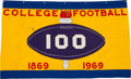 Football Collectibles:Others, 1969 College Football 100 Year Anniversary Banner Hung at Sun Devil Stadium. ...