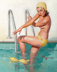 Gil Elvgren (American, 1914-1980) Cover, Girl!, 1965 Oil on canvas 30 x 24 in. Signed lower ri