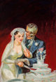 Norman Saunders (American, 1907-1989) I Take Thee, Death, 15 Mystery Stories pulp magazine cover, August 1950 Oil on b...