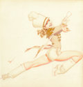 Paintings, George Petty (American, 1894-1975). Red Drum Majorette, Ice Capades, 1943. Watercolor and pencil on paper. 14 x 13 in. (...