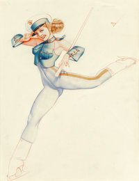 George Petty (American, 1894-1975) Marine Saluting, Ice Capades, 1944 Watercolor and pencil on board