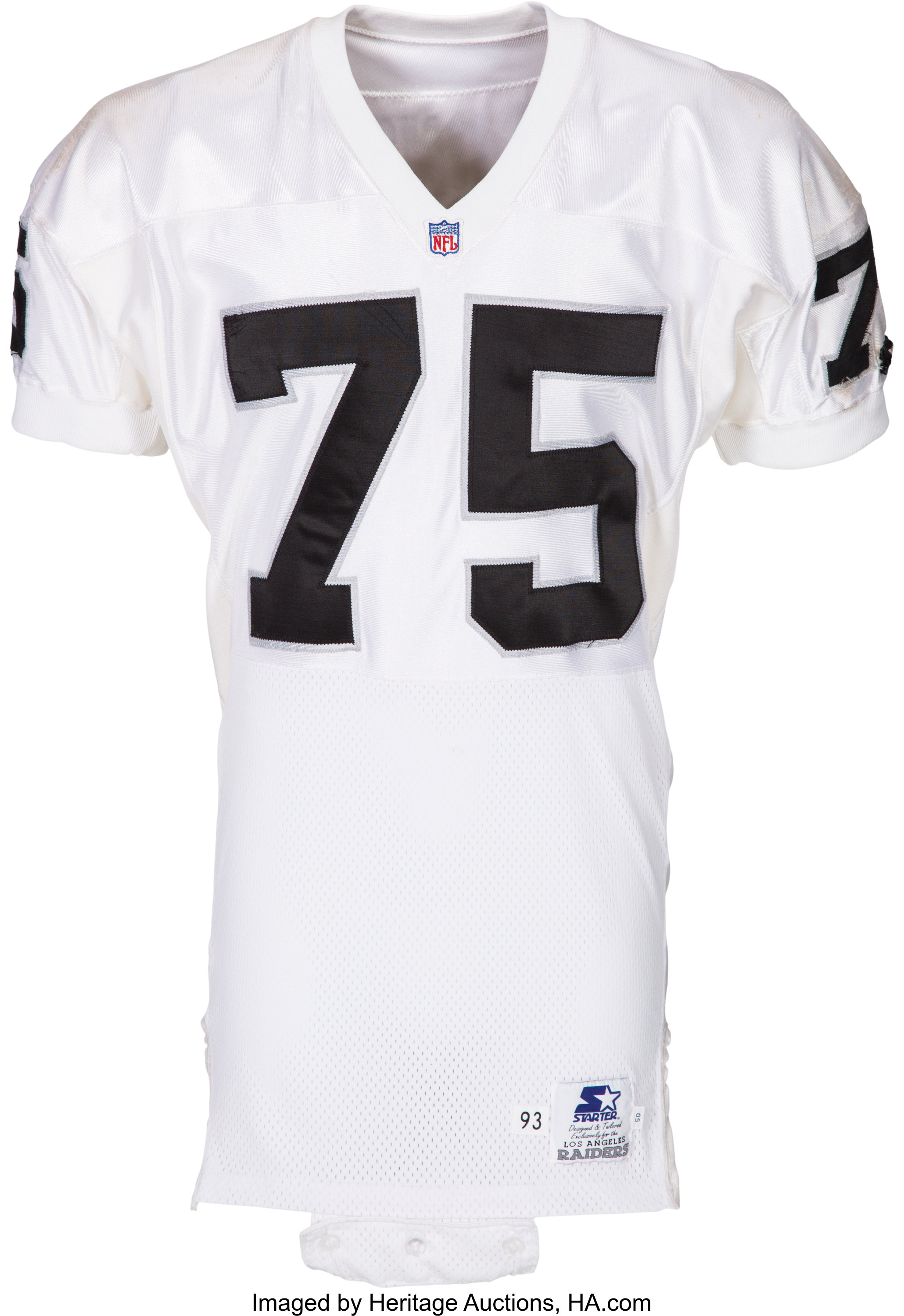 official photos f29d3 f6b6b 1993 Howie Long Game Worn, Signed Los Angeles Raiders Jersey ...