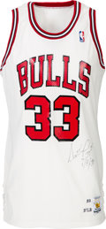 Basketball Collectibles:Uniforms, 1989-90 Scottie Pippen Game Worn & Signed Chicago Bulls Jersey....