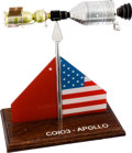 Explorers:Space Exploration, Apollo-Soyuz Test Project: Soviet Vintage Presentation Model with Flag Design on Wooden Base....