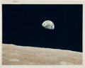 "Explorers:Space Exploration, Apollo 8 ""Earthrise"" Original NASA ""Red Number"" Color Photo,AS8-14-2383...."
