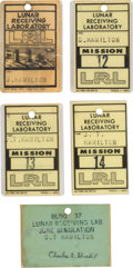 """Explorers:Space Exploration, NASA Lunar Receiving Laboratory Badges for Apollo 11, Apollo 12, Apollo 13, Apollo 14, and """"June Simulation"""" All Issued to Aer... (Total: 5 Items)"""