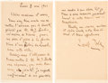 Autographs:Authors, Emile Zola Autograph Letter Signed. ... (Total: 2 )