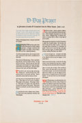 Miscellaneous:Broadside, Franklin D. Roosevelt D-Day Prayer Broadside....