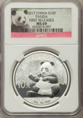 China:People's Republic of China, 2017 10 Yuan One-Ounce Silver Panda, First Releases, MS69 NGC. PCGS Population: (9846/7523)....