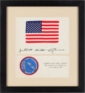 Explorers:Space Exploration, Apollo 9 Flown American Flag and Mission Insignia Patch onCrew-Signed Certificate, Originally from the Personal Collectionof...