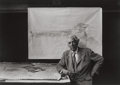 Photographs, Arnold Newman (American, 1918-2006). Frank Lloyd Wright, Taliesin East, Wisconsin, 1947. Gelatin silver, printed later. ...