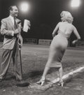 Photographs:Gelatin Silver, Frank Worth (American, 1923-2000). Marilyn Monroe and Ralph Edwards at the Hollywood Entertainers Baseball Game, 1952. G...