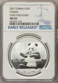 China:People's Republic of China, 2017 10 Yuan Silver Panda, Early Releases, MS69 NGC. PCGS Population: (9846/7523)....