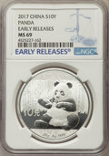 China:People's Republic of China, 2017 10 Yuan One-Ounce Silver Panda, Early Releases, MS69 NGC. PCGS Population: (9846/7523)....