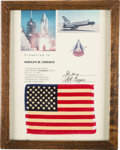 Explorers:Space Exploration, Space Shuttle Columbia (STS-1) Flown American Flag onPresentation Certificate, in Framed Display. ...