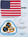 Explorers, Space Shuttle Challenger (STS-6) Flown American Flag and Patch on Presentation Certificate, in Framed Display....