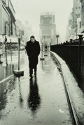 Photographs:Gelatin Silver, Dennis Stock (American, 1928-2010). James Dean in Times Square,New York City, 1955. Gelatin silver, 1978. 12 x 8-1/4 in...