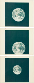 """Explorers:Space Exploration, Apollo 17 """"Blue Marble"""" Original NASA """"Red Number"""" Color Photo,AS17-148-22727, with the Two Images Following in Sequence....(Total: 3 Items)"""