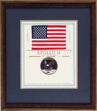 Apollo 11 Flown American Flag Originally from the Personal Collection of Mission Lunar Module Pilot Buzz Aldrin, in Fram...