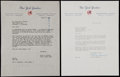 Autographs:Letters, Roy Hamey Signed Letter & Check Lot of 2. ...