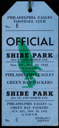 Football Collectibles:Tickets, 1942 Philadelphia Eagles Vs. Green Bay Packers Full Press Pass. ...