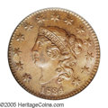1834 1C Small 8, Large Stars, Medium Letters MS64 Brown PCGS. N-2, R.1. A die crack from 1 in the date passes through al...