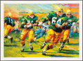 """Football Collectibles:Photos, Jerry Kramer Signed """"Packers Sweep"""" Green Bay Packers Lithograph - With Inscribed Lombardi Quote! ..."""