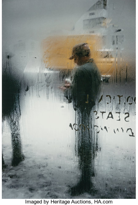 Saul Leiter (American, 1923-2013) Snow, 1960 Dye coupler, 2006 13-1/2 x 9 inches (34.3 x 22.9 cm) Signed in ink on v...
