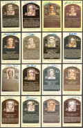 Autographs:Post Cards, Hall of Fame Yellow Post Card Plaques Signed Collection of Sixteen(16)....