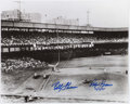 Autographs:Photos, Bobby Thomson & Ralph Branca Dual Signed Oversized Photograph....