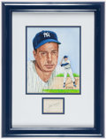 Baseball Collectibles:Others, Joe DiMaggio Cut Signature and Original Artwork by Susan RiniDisplay....