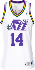 Basketball Collectibles:Uniforms, 1993-94 Jeff Hornacek Game Worn Utah Jazz Jersey. ...