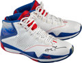Basketball Collectibles:Others, 2008-09 Allen Iverson Game Worn, Signed Detroit Pistons Sneakers -Sourced from Team Employee...