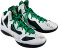 Basketball Collectibles:Others, 2011 Rajon Rondo Game Worn, Signed Boston Celtics Sneakers....