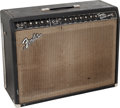 Musical Instruments:Amplifiers, PA, & Effects, 1964 Fender Twin Reverb Black Guitar Amplifier, Serial #A00196....