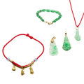 Estate Jewelry:Lots, Jadeite Jade, Gold Jewelry Lot. ... (Total: 5 Items)
