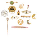 Estate Jewelry:Lots, Diamond, Multi-Stone, Seed Pearl, Cultured Pearl, Enamel, Gold Brooches. ... (Total: 14 Items)