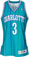 Basketball Collectibles:Uniforms, 1994-95 Hersey Hawkins Game Worn Charlotte Hornets Jersey....