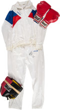 Boxing Collectibles:Autographs, 1987 Riddick Bowe Pan American Team Worn Windsuit, with Training Used Gloves and Crotchpiece....