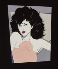 Patrick Nagel (American, 1945-1984) Joan Collins, #411, 1982 Acrylic on canvas 47.5 x 40 in. S