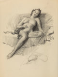 Mainstream Illustration, Gil Elvgren (American, 1914-1980). Reclining Nude. Charcoalon vellum. 24 x 17.625 in. (sheet). Not signed. ...